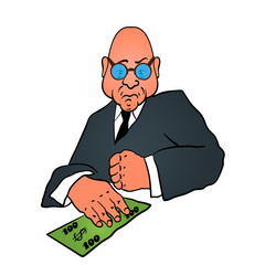 Cartoon business man in a suit with money
