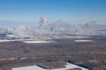 Top view of petrochemical company in winter