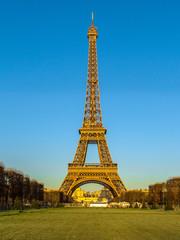 Eiffel Tower view from Champ de Mars. Paris, France, Winter