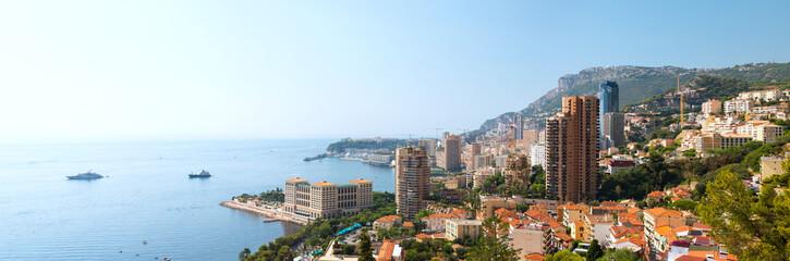Panoramic landscape of Principality Monaco coast and Monte Carlo harbor.