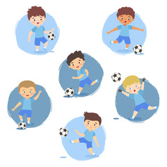 Kids playing Soccer Football Set, Boys Team Blue Uniform with different ethnic and action style isolated vector illustration
