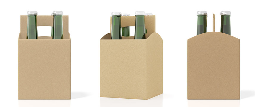 Set of four bottles cardboardblank beer packaging