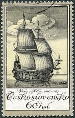CZECHOSLOVAKIA - 1976: engraving of ship by Vaclav Hollar