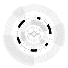 Abstract round sight-tech space weapons with circles. Transparent fill up the screen and monitor. Props for filming. Isolated  central sight of wheels. Subtle mechanical gears on white. Master vector.