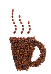 Coffee mug of coffee beans