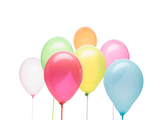 landscape image, group of colorful balloons on a sticks different colors on a white background