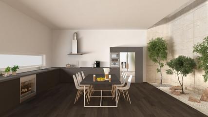 White and gray kitchen with inner garden, minimal interior desig