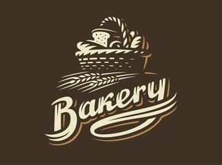 Bread basket logo - vector illustration. Bakery emblem design on dark background