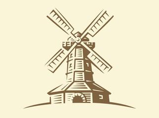Mill - vector illustration, design on light background