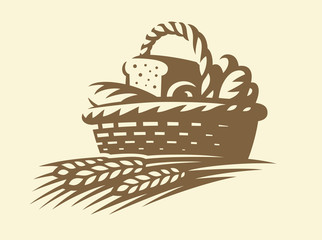Bread basket icon - vector illustration. Bakery emblem design on white background