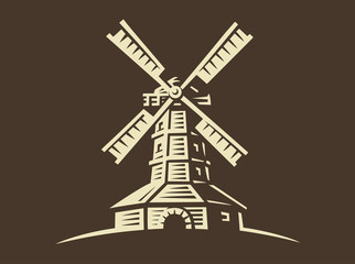 Mill - vector illustration, design on dark background