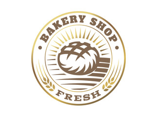 Bread logo - vector illustration. Bakery emblem design on white background