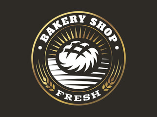 Bread logo - vector illustration. Bakery emblem design on black background