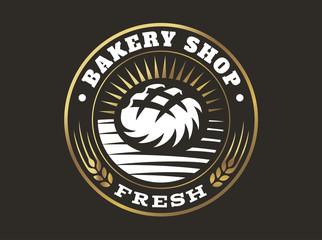 Bread logo - vector illustration. Bakery emblem design on black background