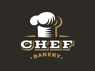 Chef logo - vector illustration. Bakery emblem design on black background