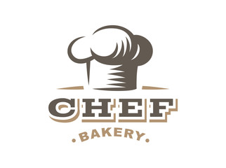 Chef logo - vector illustration. Bakery emblem design on white background