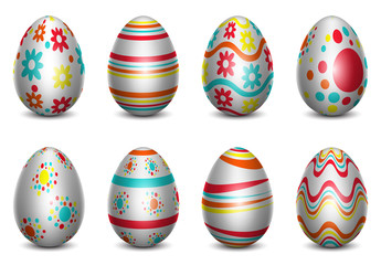 Three-Color Easter Egg Icon Set