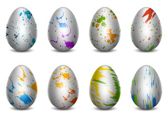 Paint Splattered Easter Egg Icon Set