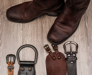 Pair of  boots and leather belt