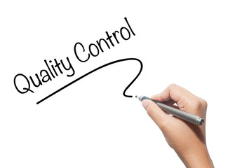 Woman hand writing Quality Control isolated on background.