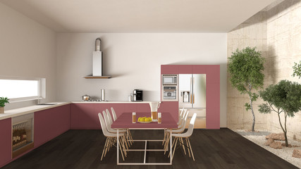 White and red kitchen with inner garden, minimal interior design