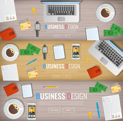 Business banner. Office workplace. Work in a team. Business design. Objects on a wooden background. Web banner. Vector. Flat design
