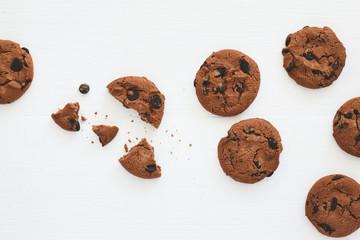 Foto op Aluminium Koekjes Chocolate cookies with chocolate