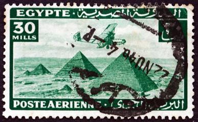 Postage stamp Egypt 1941 Airplane over Giza pyramids