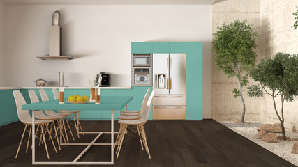 White and turquoise kitchen with inner garden, minimal interior