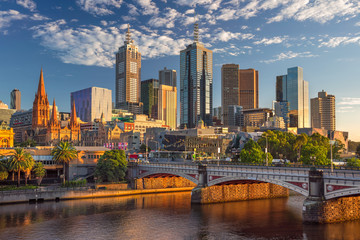 Foto op Canvas Australië Melbourne. Cityscape image of Melbourne, Australia during summer sunrise.