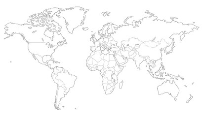 Photo sur Toile Carte du monde Outlined vector map of the world