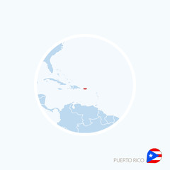 Map icon of Puerto Rico. Blue map of America with highlighted Puerto Rico.