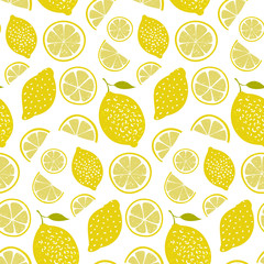Fresh pattern with lemons, full fruits and slices. Vitamin background, seamless vector texture