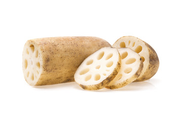 Lotus root isolated on white background