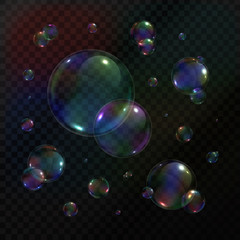 Vector collection of realistic soap bubbles on the transparent background.