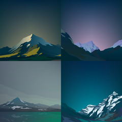 Set of high mountains landscapes.