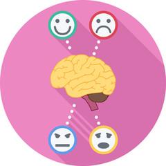 Psychology Round Flat Icon. Vector Illustration