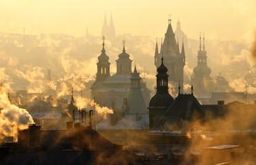 A misty morning in Prague, Czech Republic.
