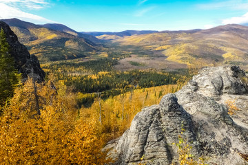 Panoramic view over fall landscape from Angel Rocks Trail, Chena River State Park, Alaska