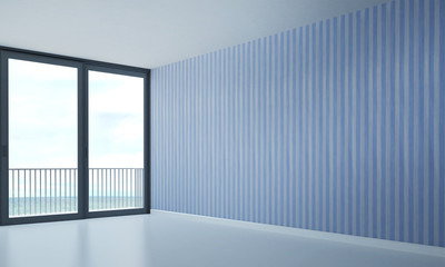 the interior design of empty room and sea view