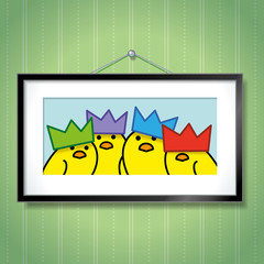 Family of Yellow Chicks Wearing Party Hats in Picture Frame
