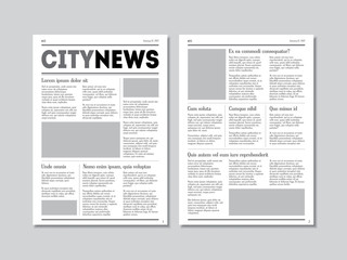 Newspaper City News with Headers. Vector