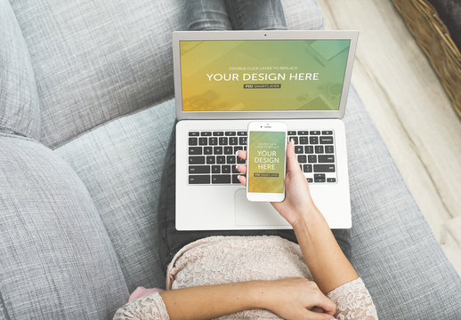 Top View of Laptop and Smartphone User on Couch Mockup 1