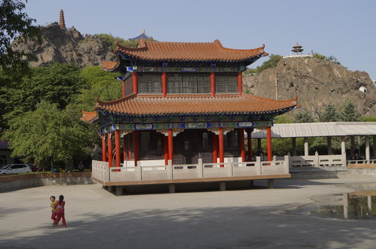 Pavillion in the small park below Hongshan, Urumqi.