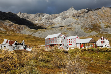 Panoramic view of historic Independence Mine, Hatcher Pass, Alaska