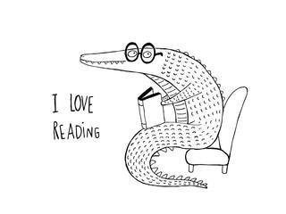 I Love Reading, Crocodile reading a book, black and white