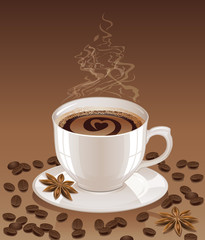 Brown background with hot steaming cup of coffee, coffee beans and stars anise.