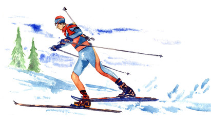 Sportsman biathlete skiing on competitions on the background of snowy mountains landscape, hand painted watercolor illustration