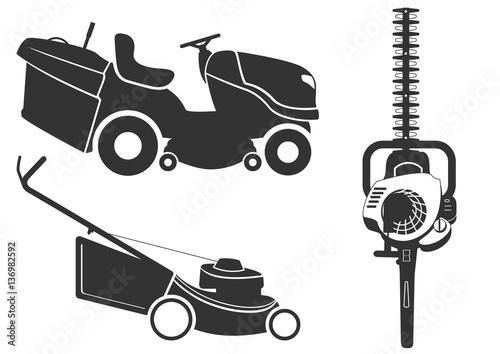 motoculture tondeuse taille haie ombre fichier vectoriel libre de droits sur la banque d. Black Bedroom Furniture Sets. Home Design Ideas