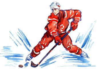 Athlete hockey player skating with puck at high speed, hand painted watercolor illustration